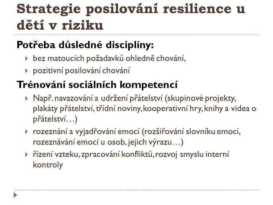 Strategie posilování resilience u dětí v riziku