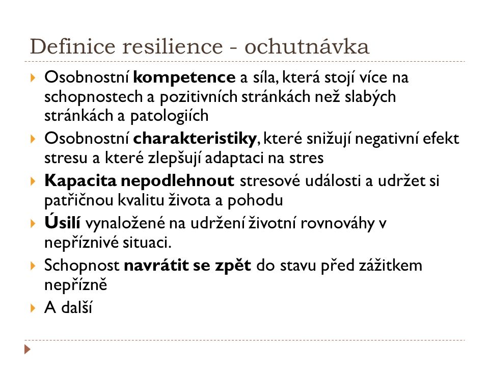 Definice resilience - ochutnávka
