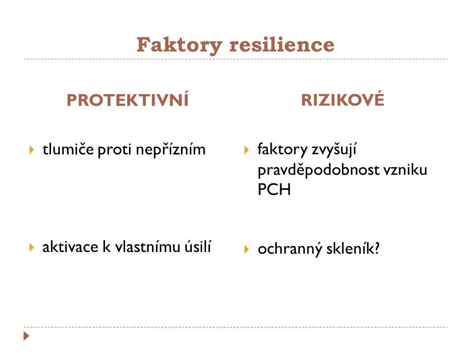 Faktory resilience PROTEKTIVNÍ tlumiče proti nepřízním