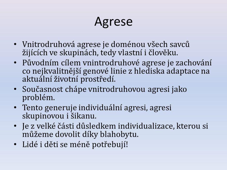 Agrese Vnitrodruhová agrese je doménou všech savců žijících ve skupinách, tedy vlastní i člověku.