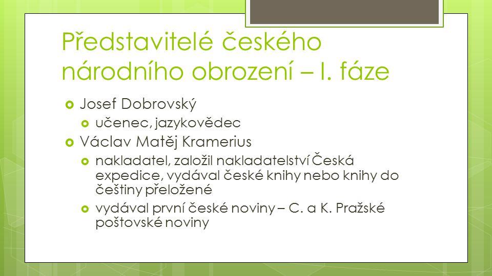 Představitelé českého národního obrození – I. fáze