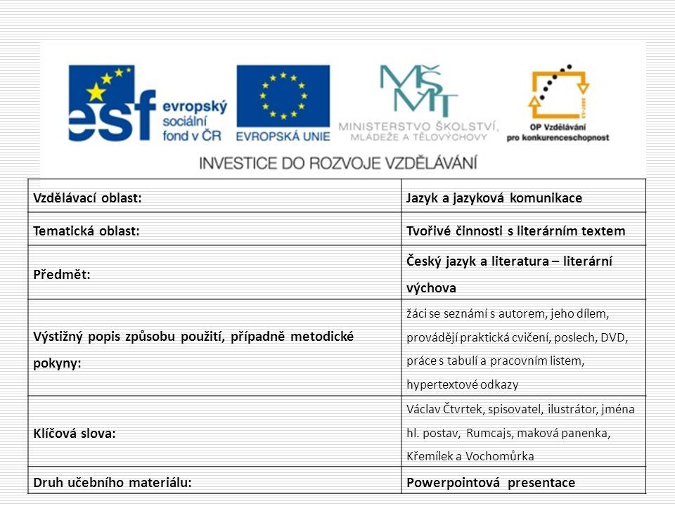 Jazyk a jazyková komunikace Tematická oblast: