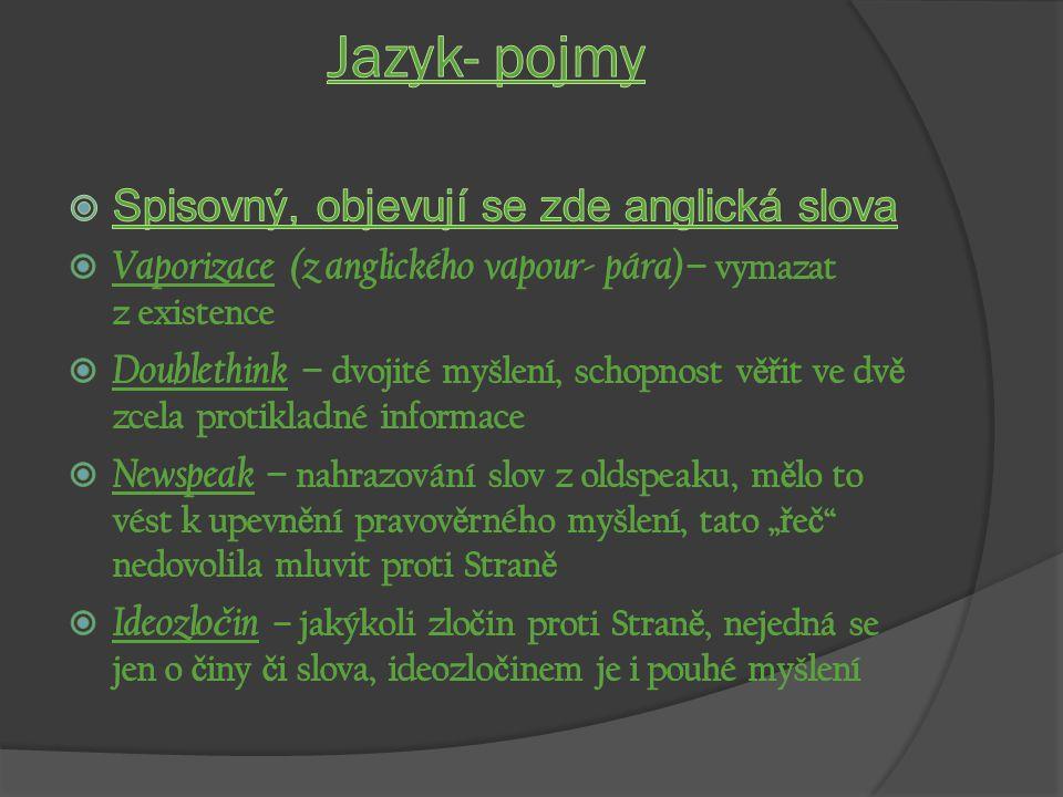 Jazyk- pojmy Spisovný, objevují se zde anglická slova