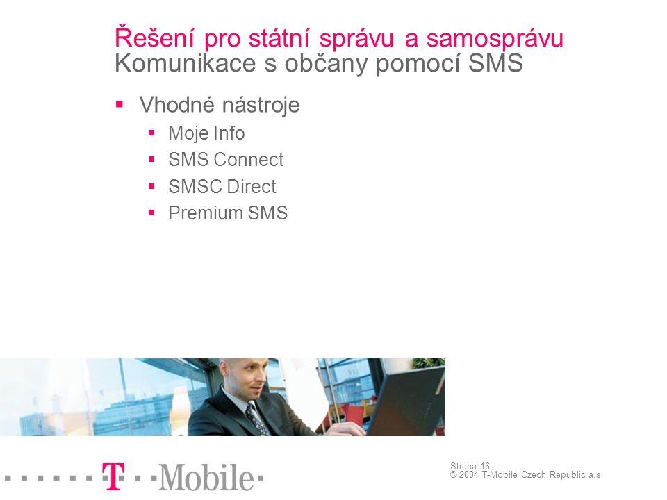 Řešení pro státní správu a samosprávu Komunikace s občany pomocí SMS
