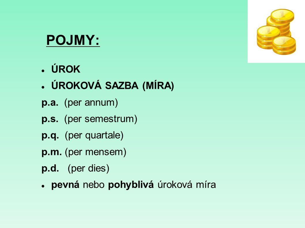POJMY: ÚROK ÚROKOVÁ SAZBA (MÍRA) p.a. (per annum) p.s. (per semestrum)