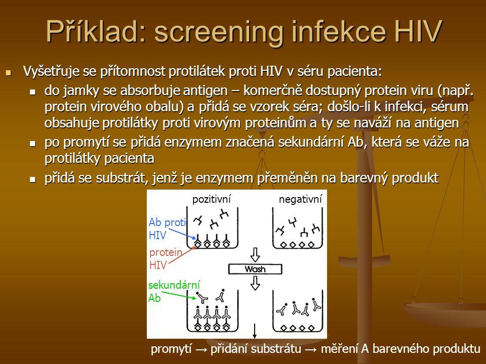 Příklad: screening infekce HIV