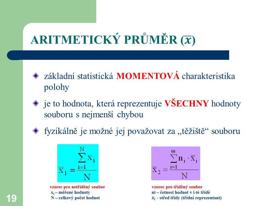 základní statistická MOMENTOVÁ charakteristika polohy