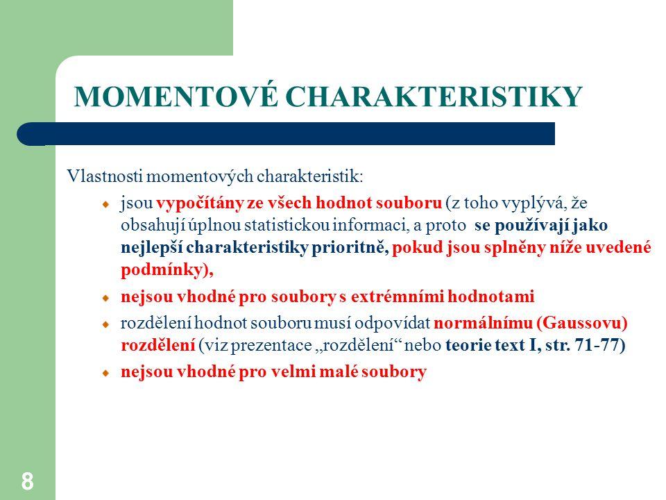MOMENTOVÉ CHARAKTERISTIKY