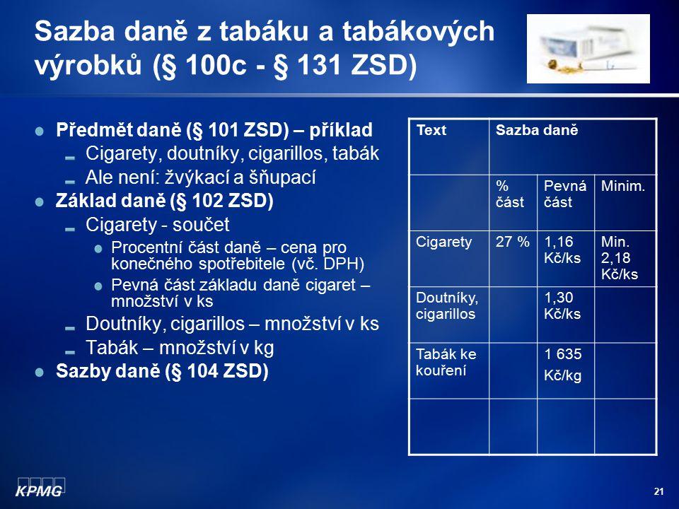 Sazba daně z tabáku a tabákových výrobků (§ 100c - § 131 ZSD)