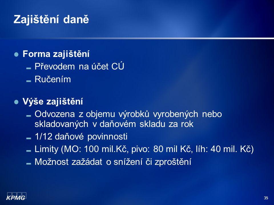 Zajištění daně Forma zajištění Převodem na účet CÚ Ručením