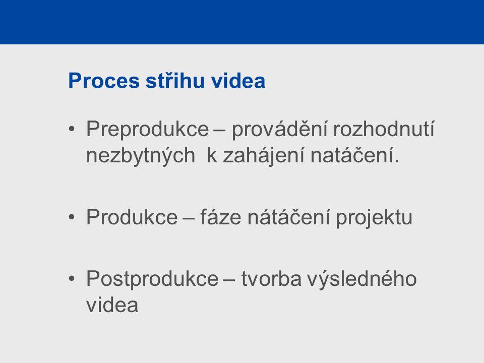 Proces střihu videa Preprodukce – provádění rozhodnutí nezbytných k zahájení natáčení. Produkce – fáze nátáčení projektu.