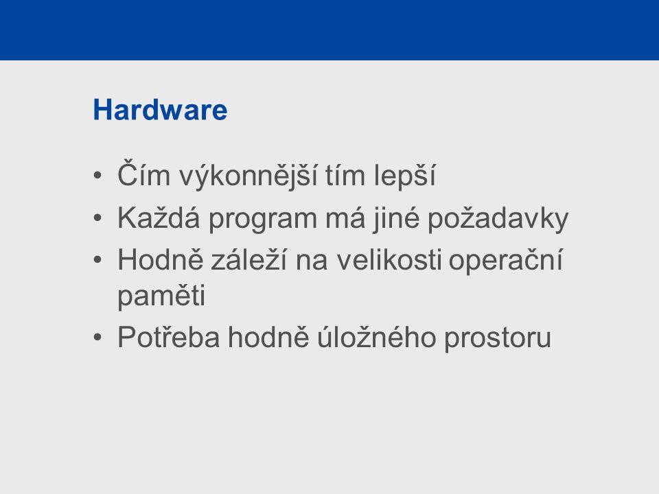 Hardware Čím výkonnější tím lepší. Každá program má jiné požadavky. Hodně záleží na velikosti operační paměti.