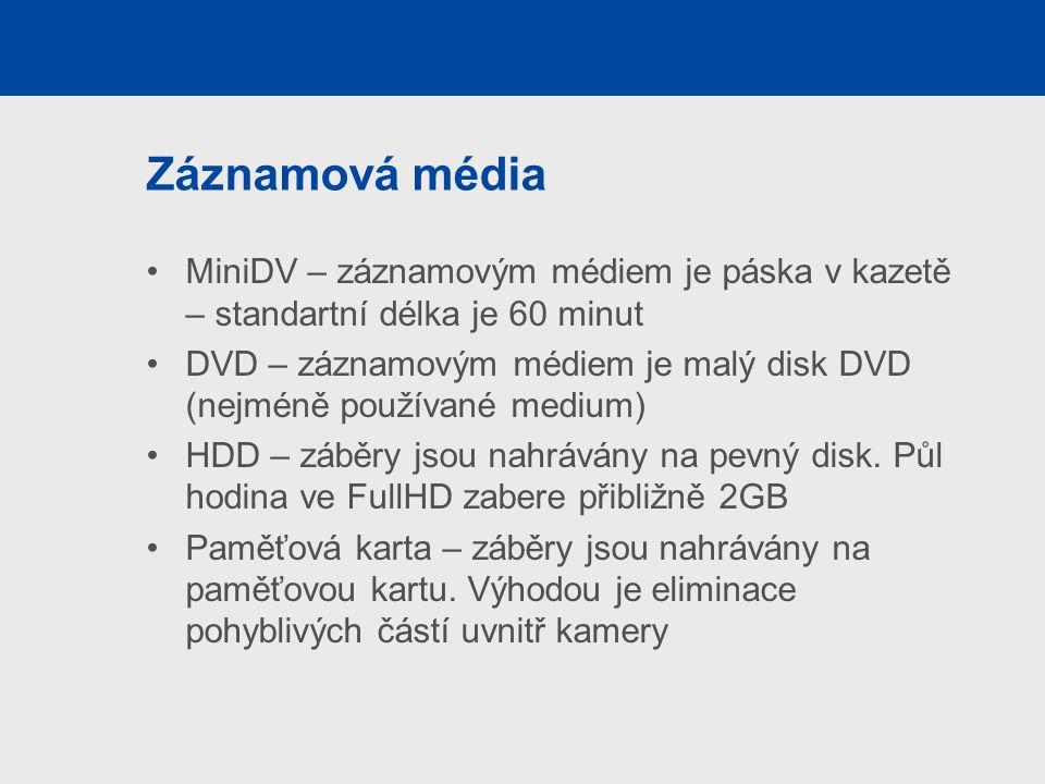 Záznamová média MiniDV – záznamovým médiem je páska v kazetě – standartní délka je 60 minut.