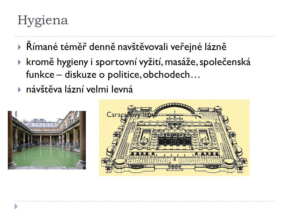 Hygiena Římané téměř denně navštěvovali veřejné lázně