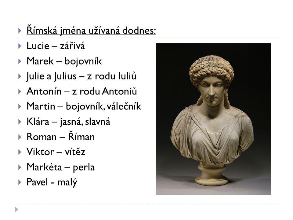 Římská jména užívaná dodnes: