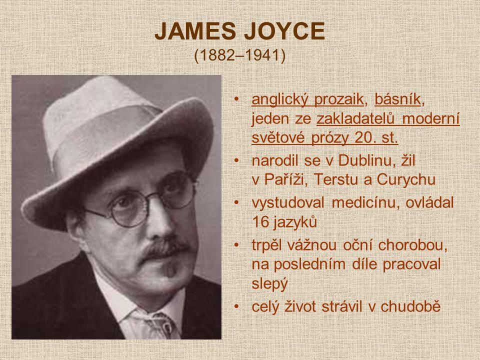 JAMES JOYCE (1882–1941) anglický prozaik, básník, jeden ze zakladatelů moderní světové prózy 20. st.