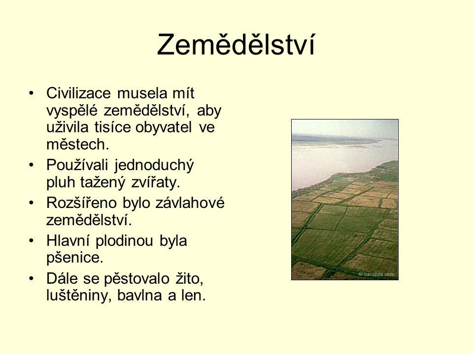 Zemědělství Civilizace musela mít vyspělé zemědělství, aby uživila tisíce obyvatel ve městech. Používali jednoduchý pluh tažený zvířaty.
