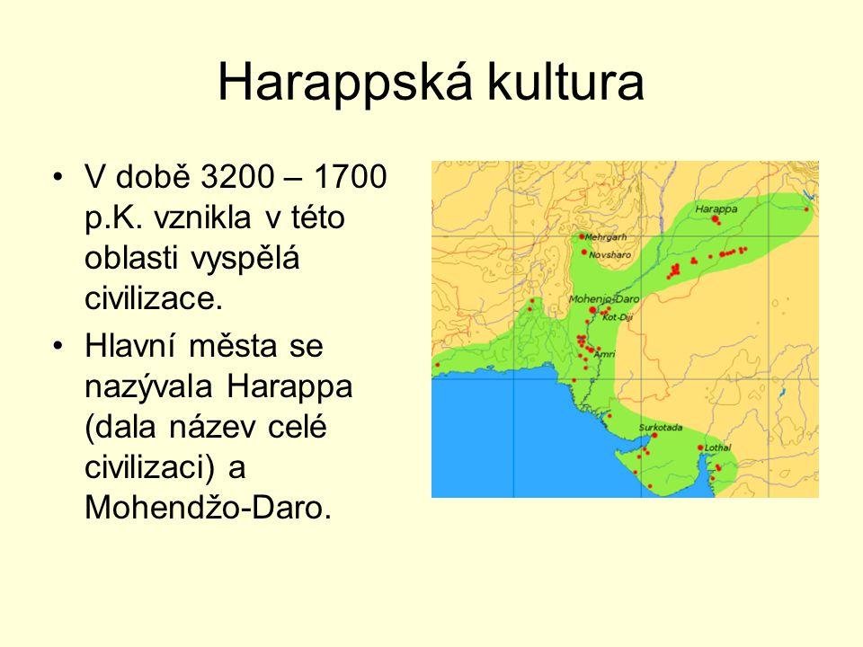Harappská kultura V době 3200 – 1700 p.K. vznikla v této oblasti vyspělá civilizace.