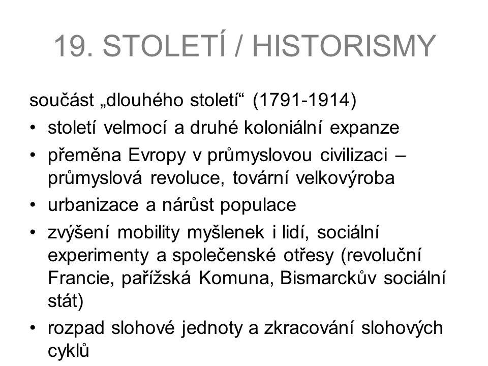 """19. STOLETÍ / HISTORISMY součást """"dlouhého století (1791-1914)"""