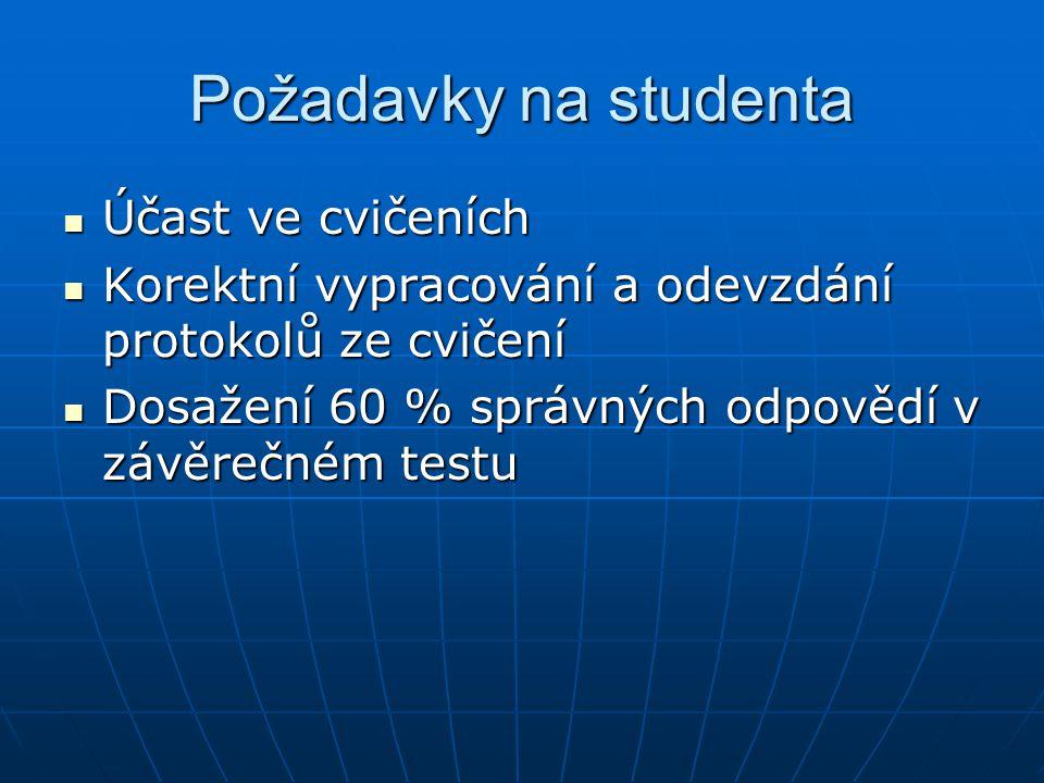 Požadavky na studenta Účast ve cvičeních