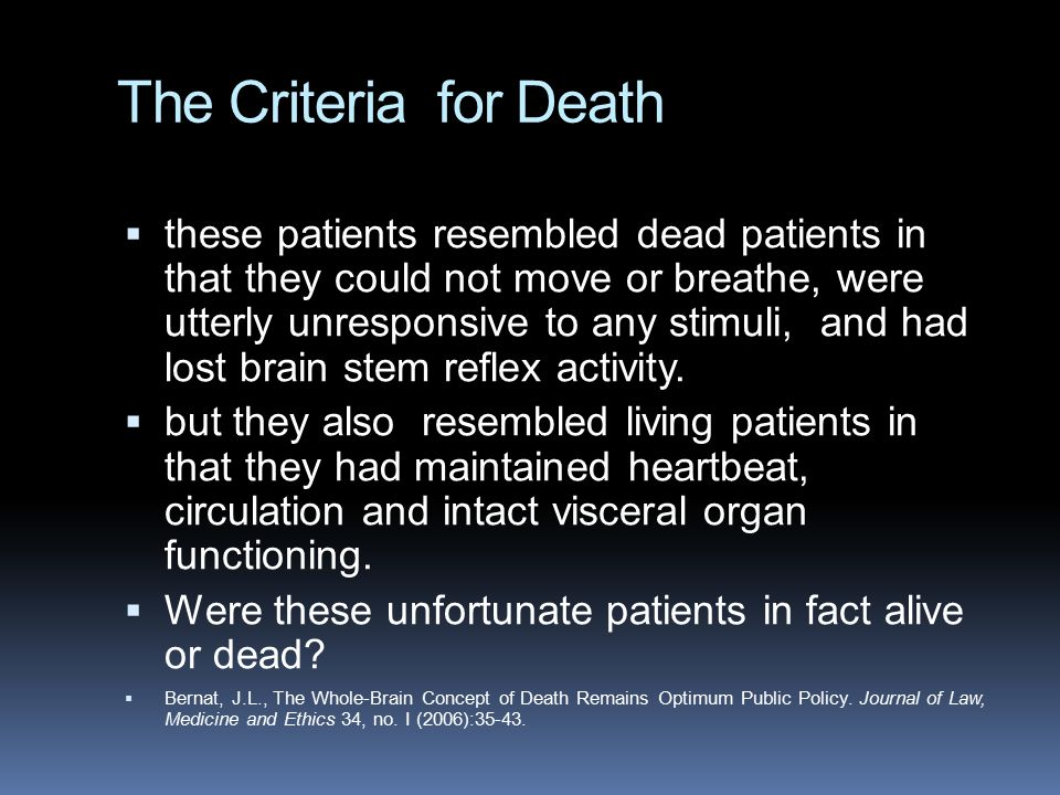 The Criteria for Death
