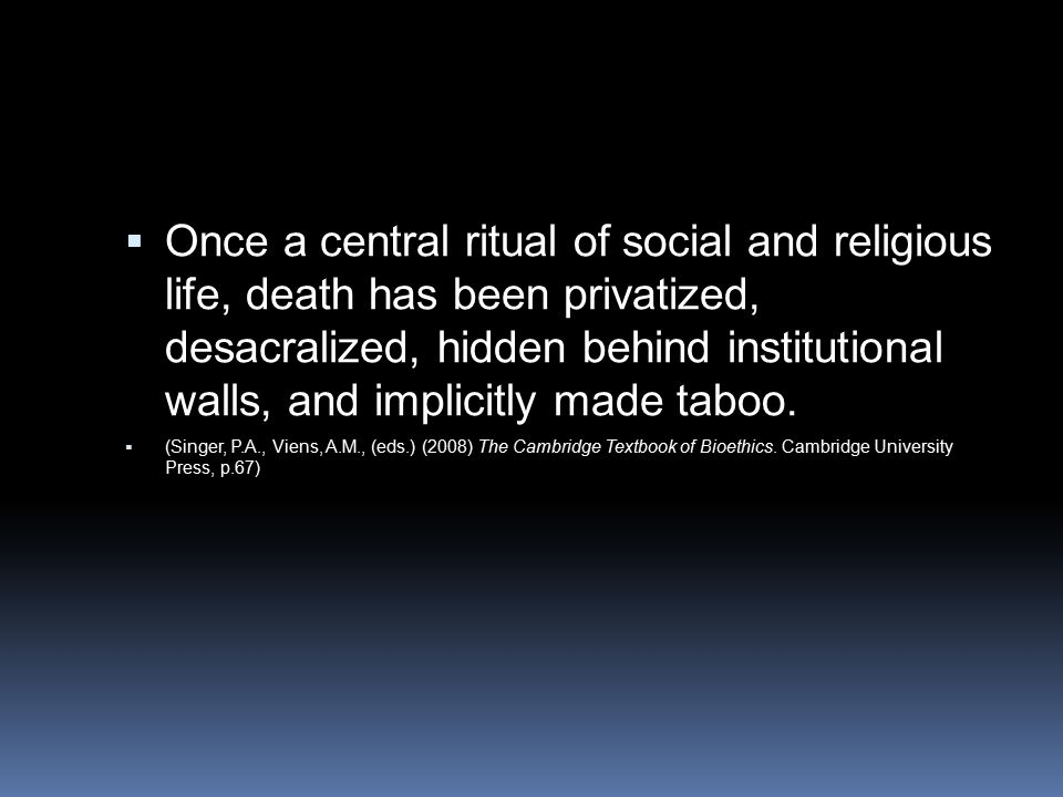 Once a central ritual of social and religious life, death has been privatized, desacralized, hidden behind institutional walls, and implicitly made taboo.