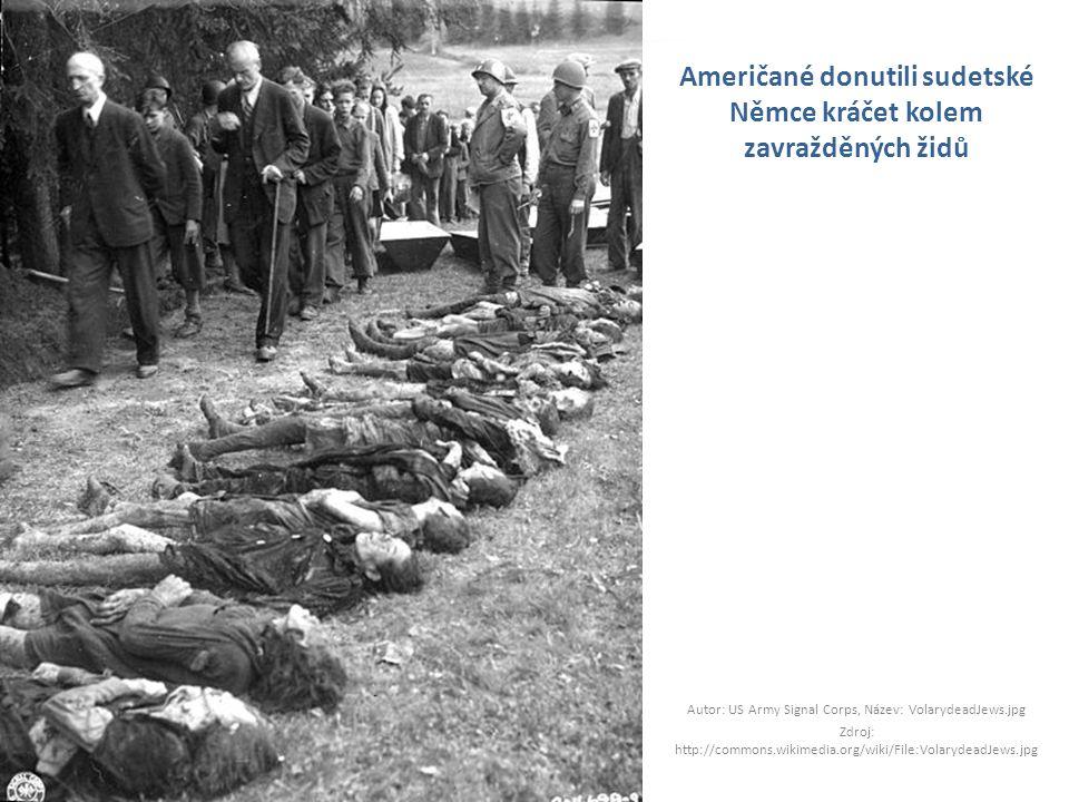 Američané donutili sudetské Němce kráčet kolem zavražděných židů
