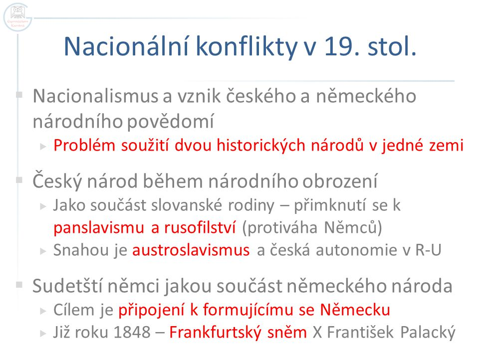 Nacionální konflikty v 19. stol.
