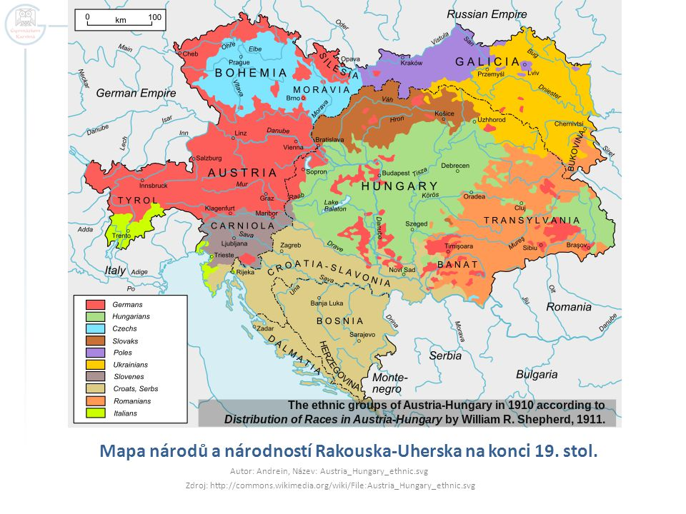 Mapa národů a národností Rakouska-Uherska na konci 19. stol.