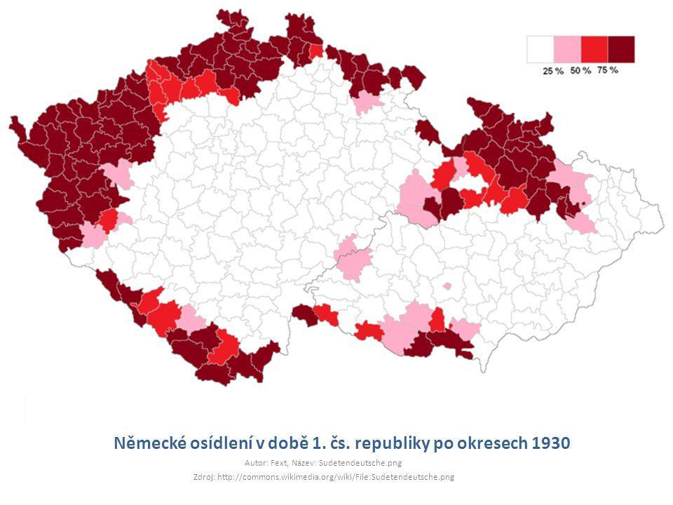 Německé osídlení v době 1. čs. republiky po okresech 1930