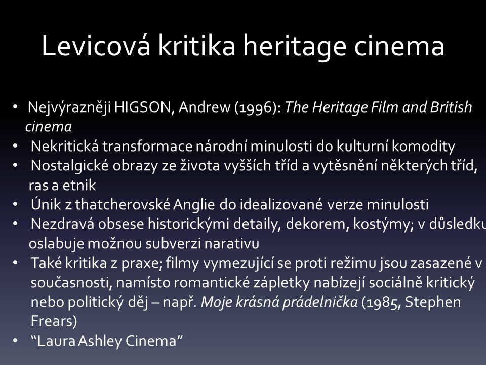 Levicová kritika heritage cinema