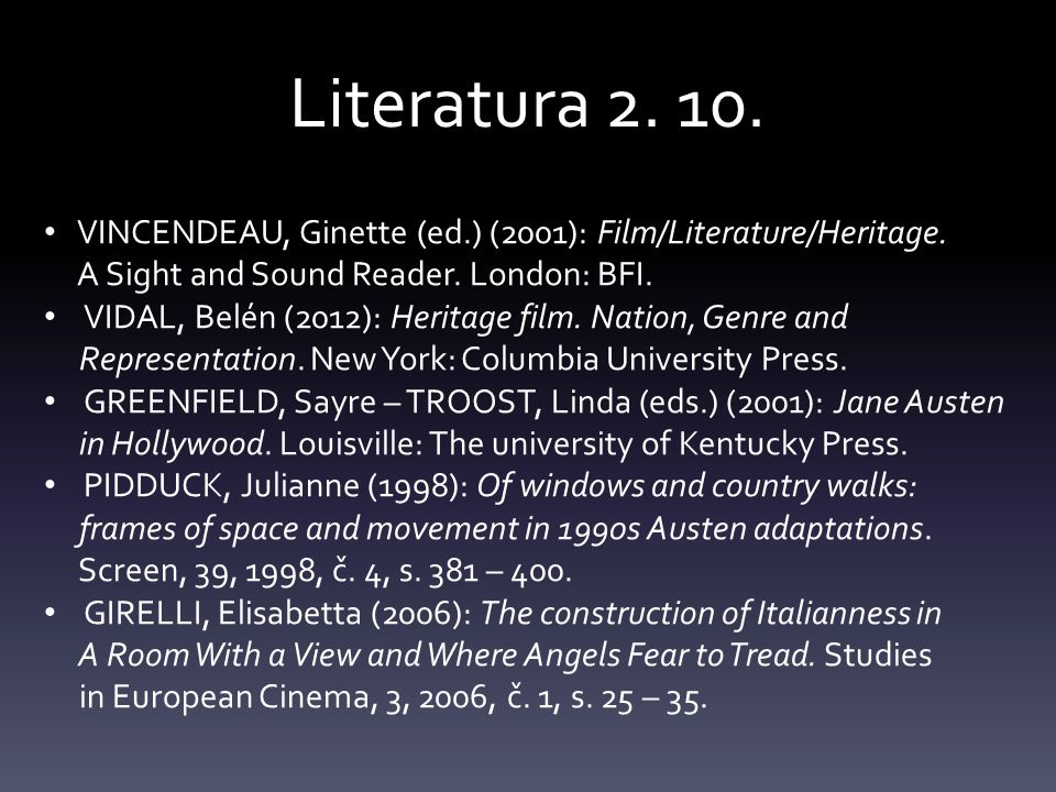 Literatura VINCENDEAU, Ginette (ed.) (2001): Film/Literature/Heritage. A Sight and Sound Reader. London: BFI.