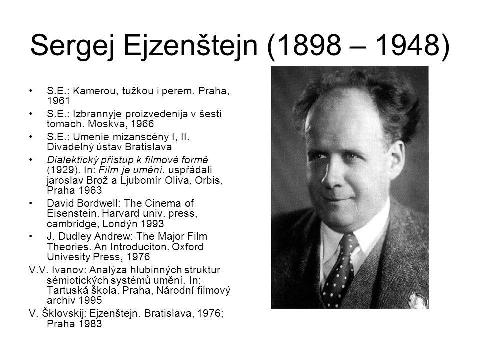 Sergej Ejzenštejn (1898 – 1948) S.E.: Kamerou, tužkou i perem. Praha, 1961. S.E.: Izbrannyje proizvedenija v šesti tomach. Moskva, 1966.
