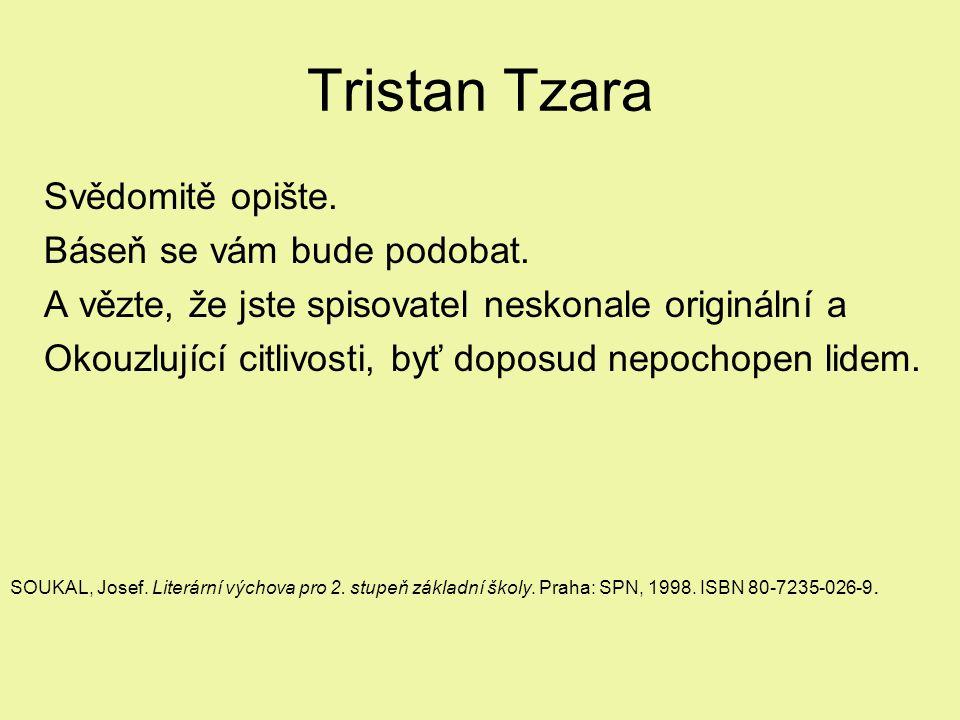 Tristan Tzara Svědomitě opište. Báseň se vám bude podobat.