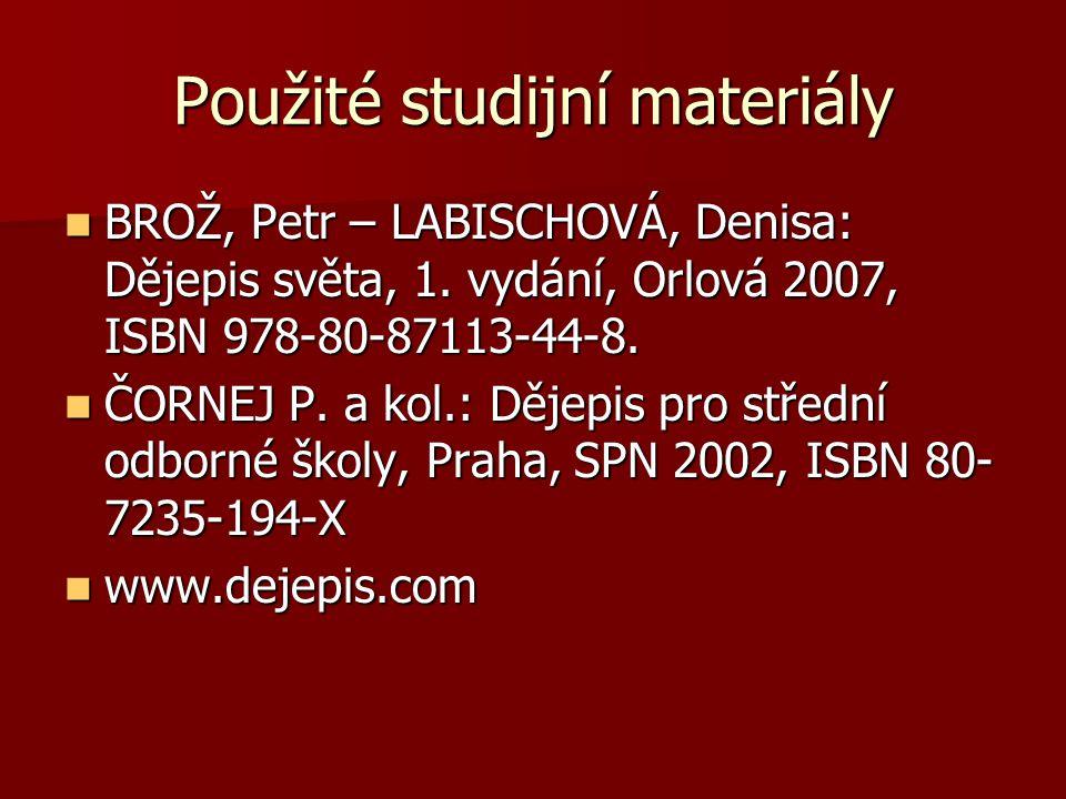 Použité studijní materiály