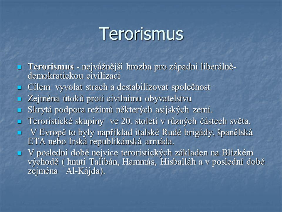 Terorismus Terorismus - nejvážnější hrozba pro západní liberálně-demokratickou civilizaci. Cílem vyvolat strach a destabilizovat společnost.