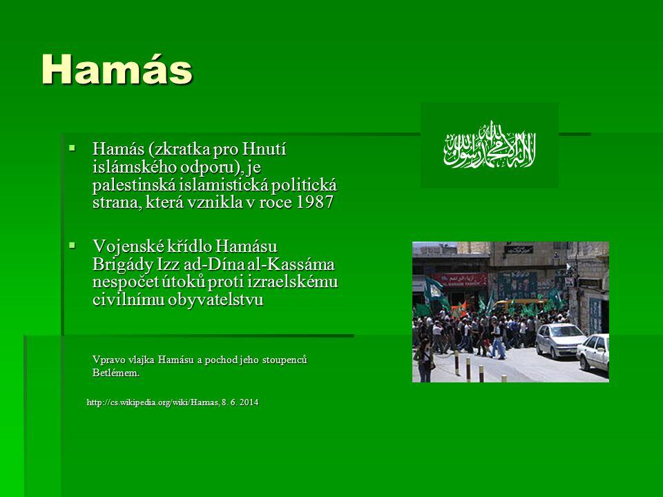 Hamás Hamás (zkratka pro Hnutí islámského odporu), je palestinská islamistická politická strana, která vznikla v roce 1987.