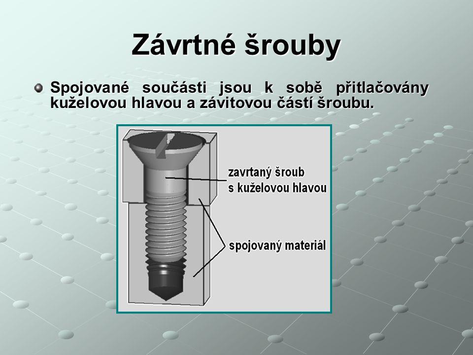 Závrtné šrouby Spojované součásti jsou k sobě přitlačovány kuželovou hlavou a závitovou částí šroubu.