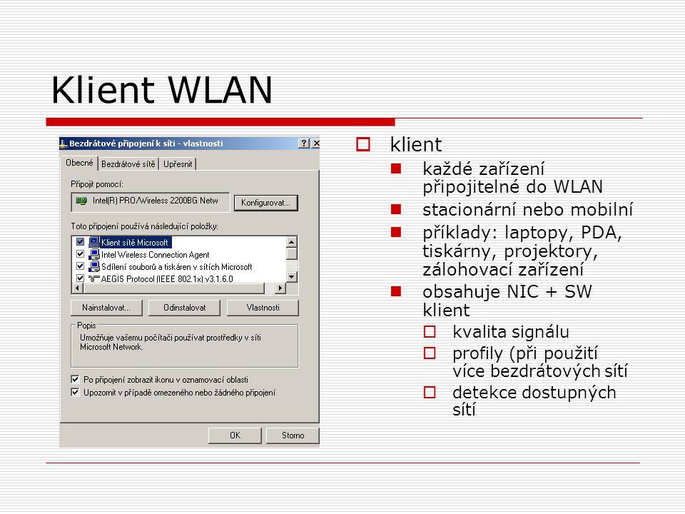 Klient WLAN klient každé zařízení připojitelné do WLAN