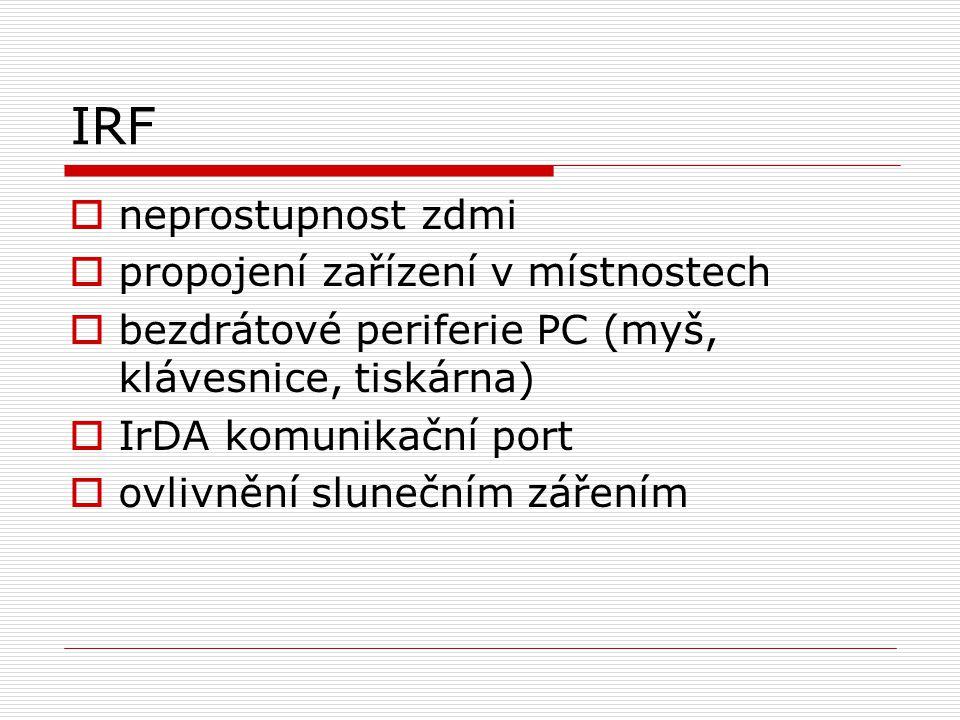 IRF neprostupnost zdmi propojení zařízení v místnostech