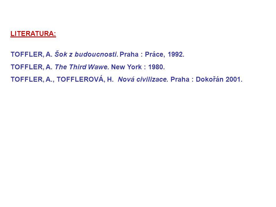 LITERATURA: TOFFLER, A. Šok z budoucnosti. Praha : Práce, 1992. TOFFLER, A. The Third Wawe. New York : 1980.