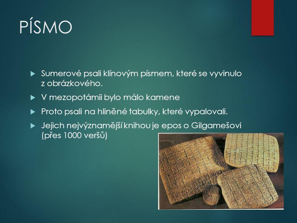 PÍSMO Sumerové psali klínovým písmem, které se vyvinulo z obrázkového.