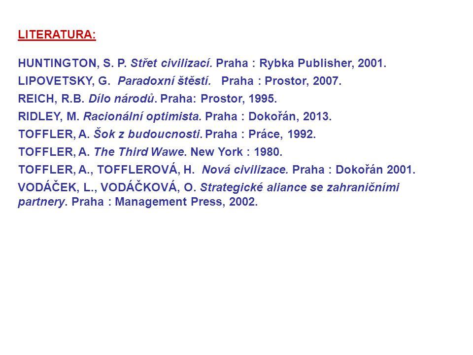 LITERATURA: HUNTINGTON, S. P. Střet civilizací. Praha : Rybka Publisher, 2001. LIPOVETSKY, G. Paradoxní štěstí. Praha : Prostor, 2007.