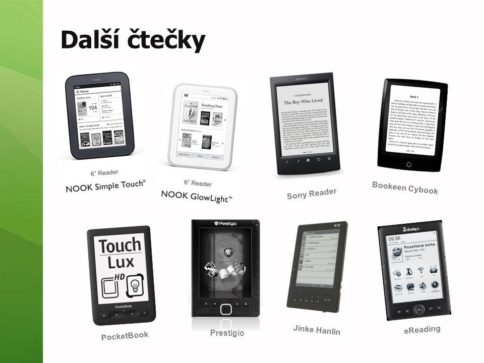 Další čtečky Bookeen Cybook Sony Reader Jinke Hanlin eReading