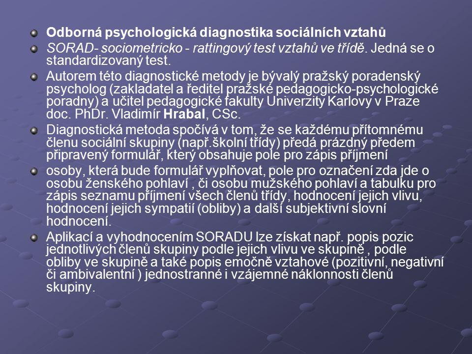 Odborná psychologická diagnostika sociálních vztahů