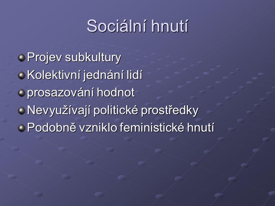 Sociální hnutí Projev subkultury Kolektivní jednání lidí