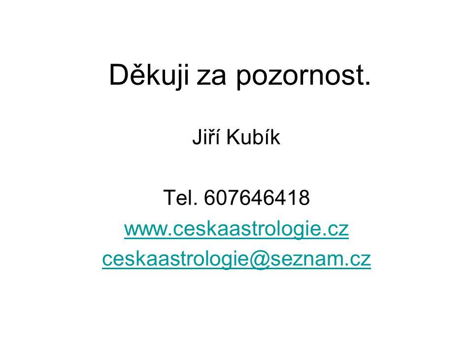 Děkuji za pozornost. Jiří Kubík Tel. 607646418 www.ceskaastrologie.cz