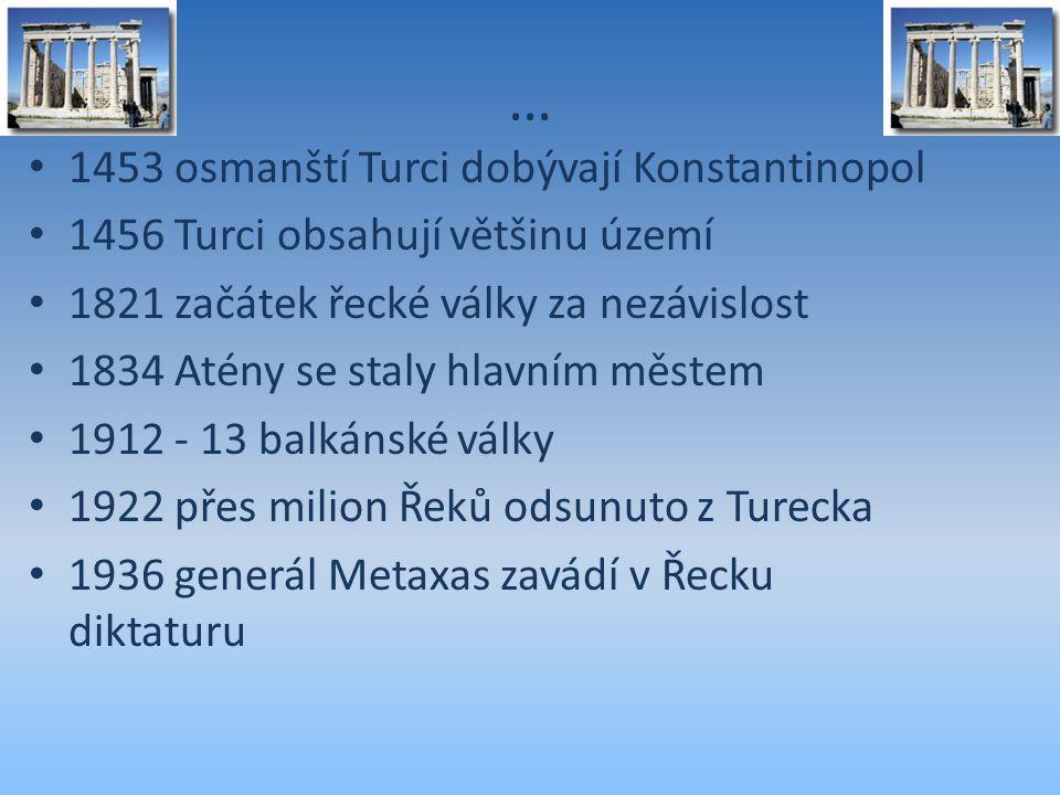 … 1453 osmanští Turci dobývají Konstantinopol