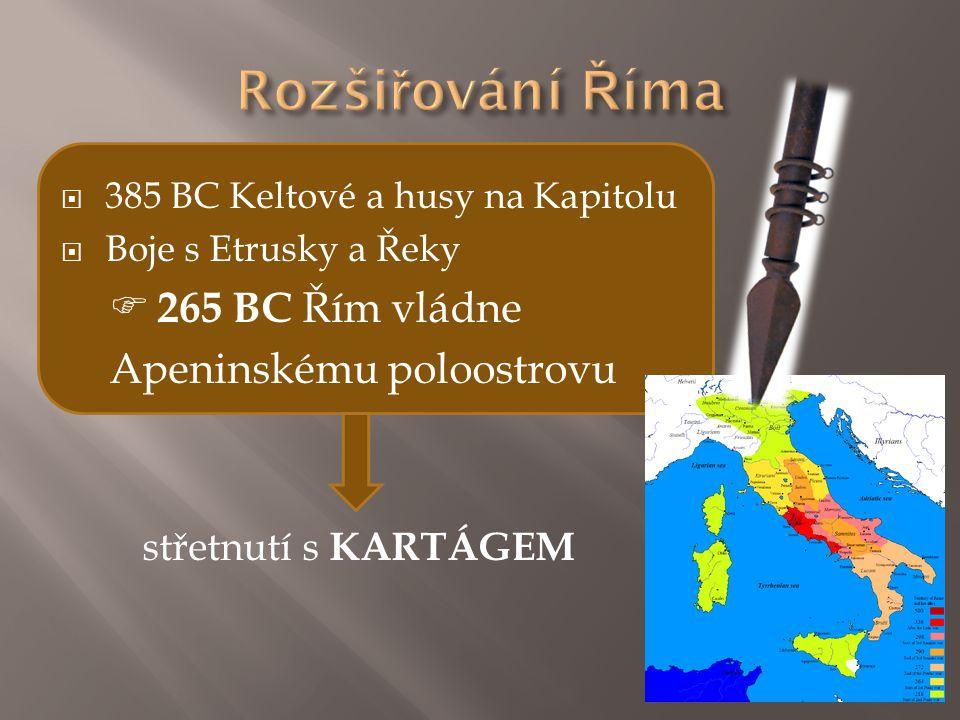 Rozšiřování Říma  265 BC Řím vládne Apeninskému poloostrovu