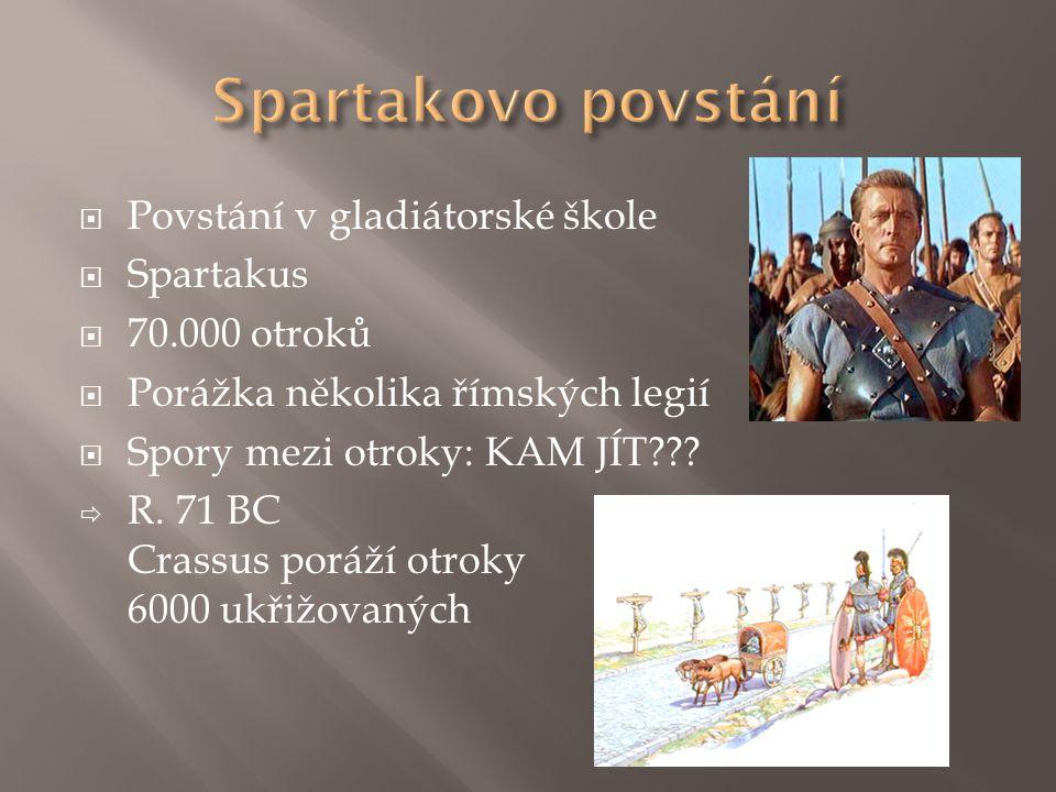 Spartakovo povstání Povstání v gladiátorské škole Spartakus